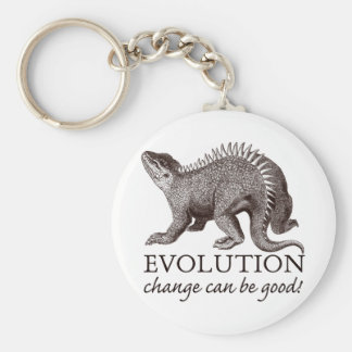 Evolution change can be good! basic round button keychain