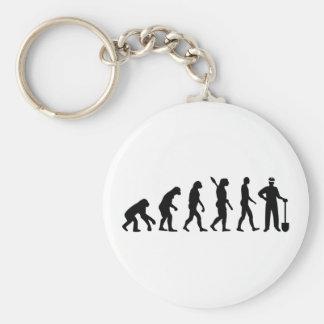 Evolution construction worker basic round button keychain