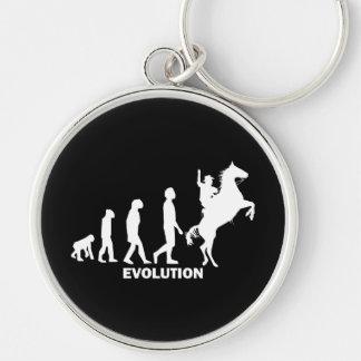 evolution cowboy Silver-Colored round keychain