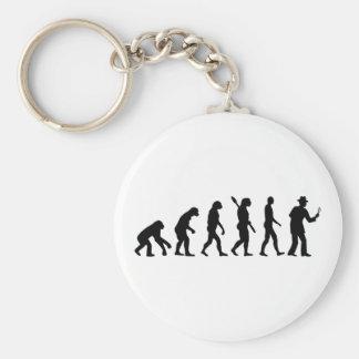 Evolution detective basic round button keychain