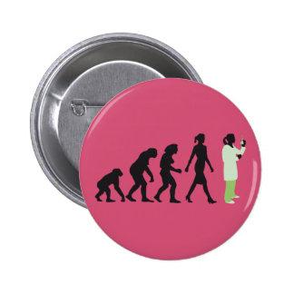 evolution female biologist, chemist, physicist 2 inch round button