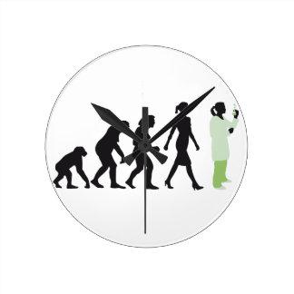 evolution female biologist, chemist, physicist wall clock