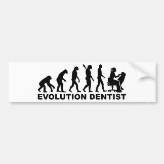 Evolution female dentist bumper sticker