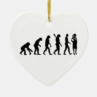 Evolution female doctor ceramic ornament