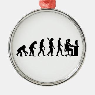 Evolution female graphic artist Silver-Colored round ornament