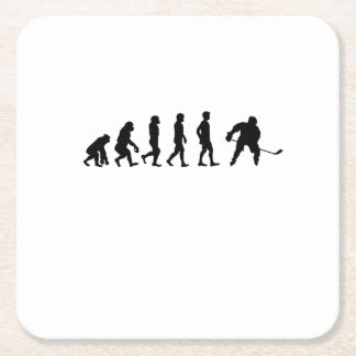 Evolution Hockey Lover Funny Gifts Square Paper Coaster