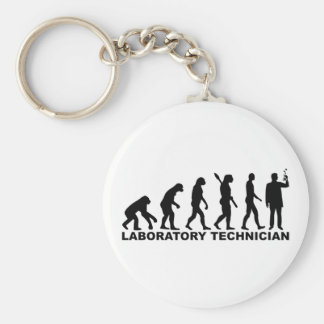Evolution laboratory technician basic round button keychain