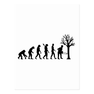 Evolution lumberjack postcard