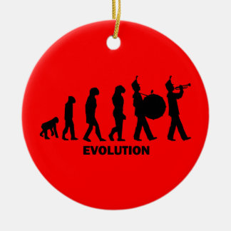 evolution marching band ceramic ornament