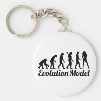 Evolution model basic round button keychain