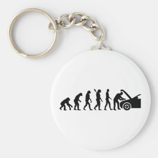 Evolution motor mechanic basic round button keychain