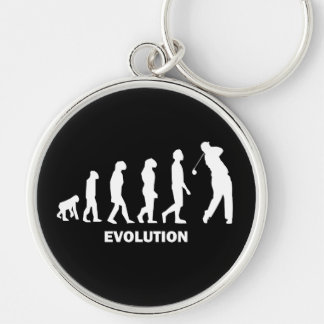 evolution of golf Silver-Colored round keychain