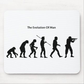 Evolution of Man (White) Sattrical Mousepad