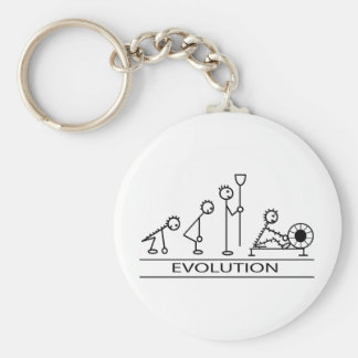 Evolution of man with rowing basic round button keychain