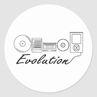 Evolution of Music Round Sticker