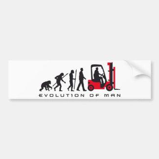 evolution OF one forklift more driver Bumper Sticker