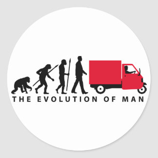 Evolution OF one Piaggio Ape mini transporter Round Sticker