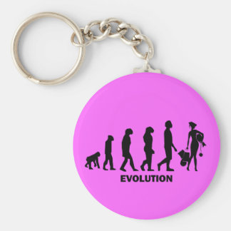 Evolution of shopping basic round button keychain