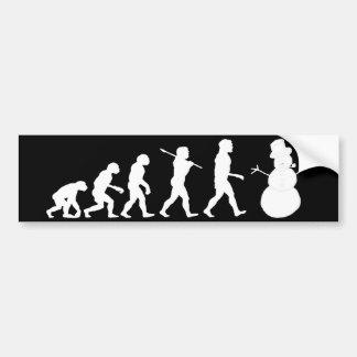 Evolution of Snowman Bumper Sticker