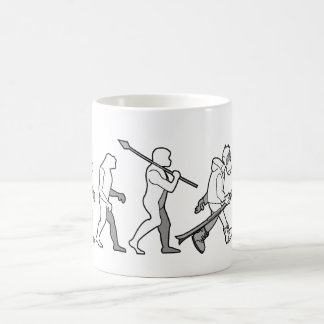 Evolution of the snow boarder coffee mug