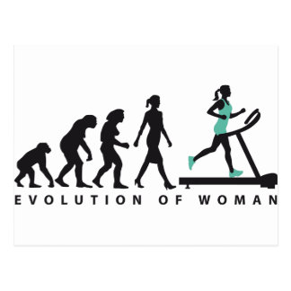 evolution OF woman jogging on A treadmill fitness Postcard
