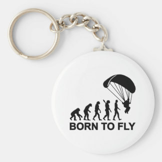 Evolution Skydiving born to fly Basic Round Button Keychain
