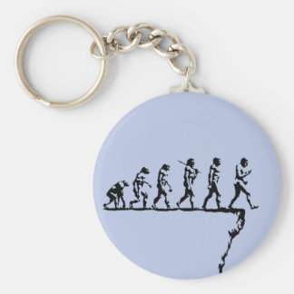 Evolution Social Extinction Basic Round Button Keychain