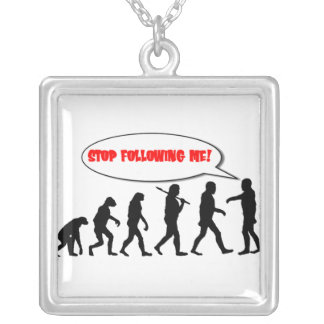 Evolution. Stop Following Me Silver Plated Necklace