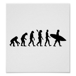 Evolution surfing surf board poster