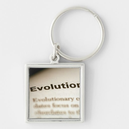 Evolution text on page key chain