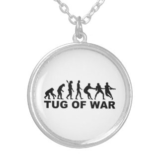 Evolution tug of war silver plated necklace