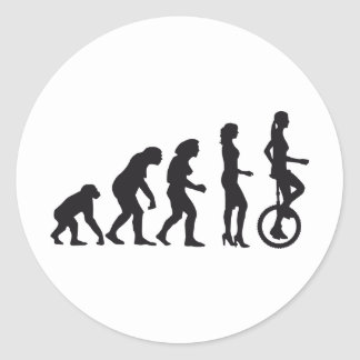 evolution unicycle classic round sticker