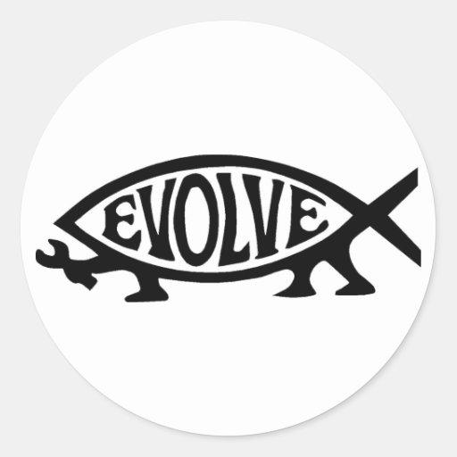 Evolve Fish Round Stickers