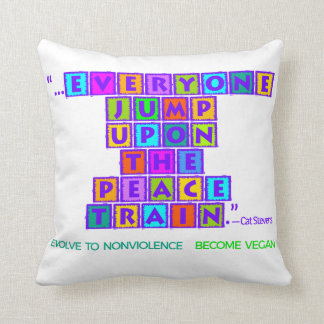 EVOLVE TO NONVIOLENCE PEACE TRAIN COTTON PILLOW