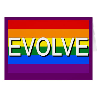 EVOLVE with Gay Pride Flag for Gay Rights Card