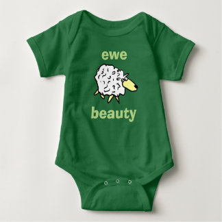 Ewe Beauty Sheep Cartoon Design Baby Bodysuit