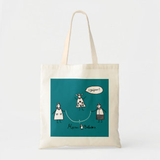 Ewes jumping to the curve tote bag