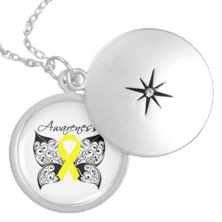 Ewing Sarcoma Butterfly Ribbon Round Locket Necklace