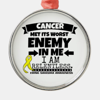 Ewing Sarcoma Cancer Met Its Worst Enemy in Me Silver-Colored Round Ornament