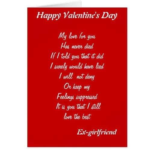 Ex Girlfriend Valentine 39 S Day Cards Zazzle
