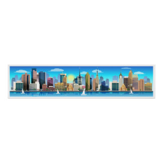 Ex L Sailboats and City Scene Panoramic Art Poster