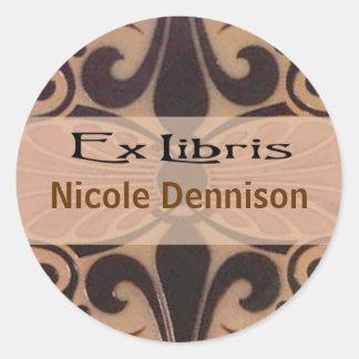 Ex Libris Bookplate Sticker (Tilo mocha)