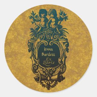 Ex Libris Cartouche & Cherubs Sticker