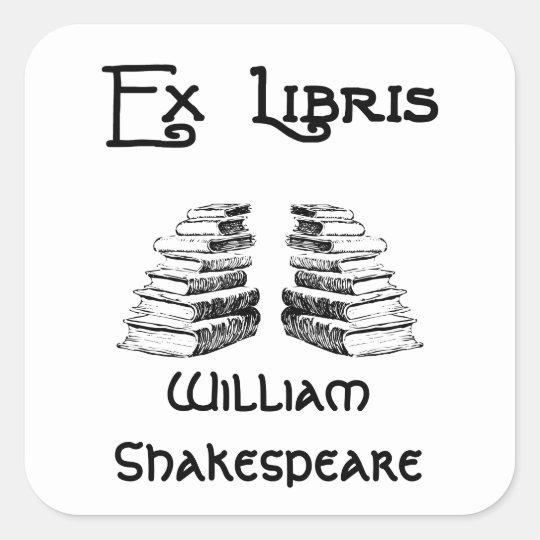 Ex Libris Deco Letters Books Custom Bookplate Square Sticker
