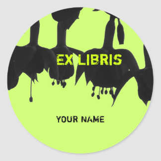Ex Libris - Flowers (Bells) Round Sticker