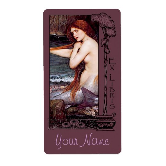 Ex Libris - Mermaid Book Plate v2 Shipping Label