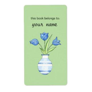 Ex-libris vert de tulipes bleues étiquette d'expédition