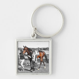 Exaggerator Silver-Colored Square Keychain