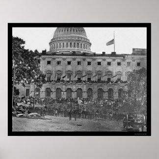 Examen grand d'armée par le capitol 1865 des USA Affiches