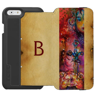 EXCALIBUR, Red Purple Black parchment monogram Incipio Watson™ iPhone 6 Wallet Case